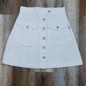 Adorable Revolt White Button Down Denim Skirt SZ 3